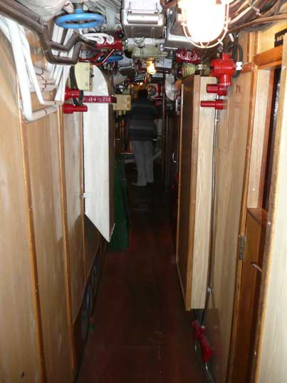 Corridor between crew compartments in the B-413 submarine