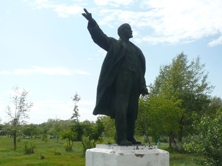 Lenin statue in and Aksu field that is now turned in a statue gallery withy old Soviet monuments