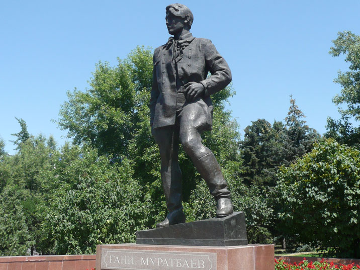 Statue of Ghani Muratbaev, leader of the Komsomol, the Communist Youth International in Central Asia
