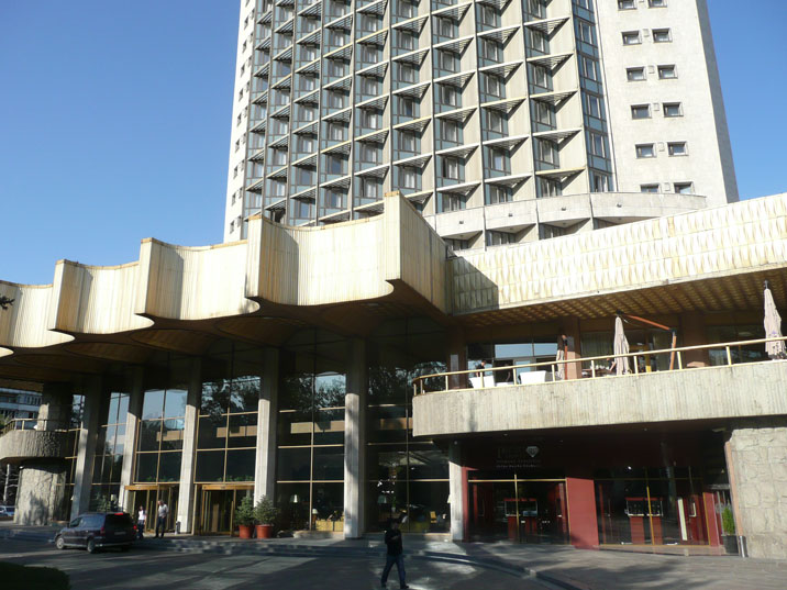 The entrance of Hotel Kazakhstan with al the familiar elements of Soviet a1970s architecture