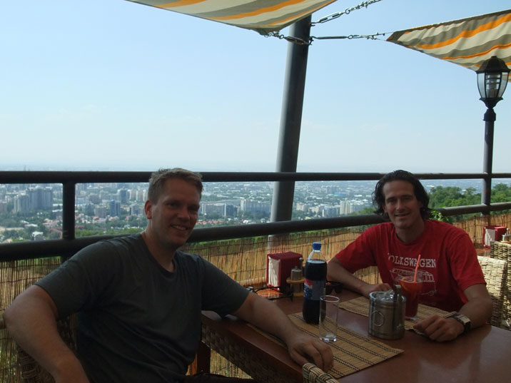 The Grill cafe on Kok Tobe mountain is an excellent place to relax with a beer and enjoy the view on the city