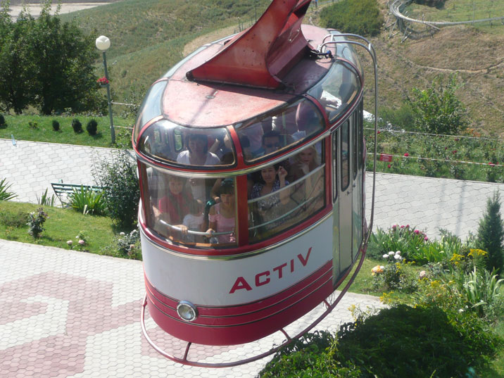 Cable car taking tourists up to Kok Tobe mountain in Almaty