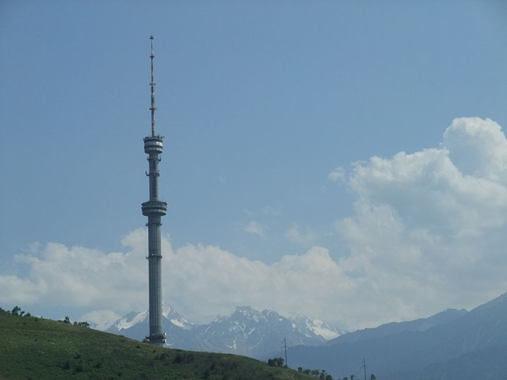 TV Tower at Kok Tobe mountain visible everywhere in Almaty