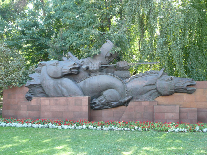 Large sculpture that is part of the World War II memorial depicting a Red Army horseman