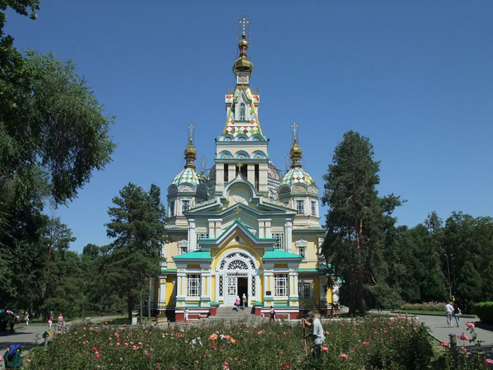 Russian Orthodox Zenkov Cathedral in Almaty's Panfilov park