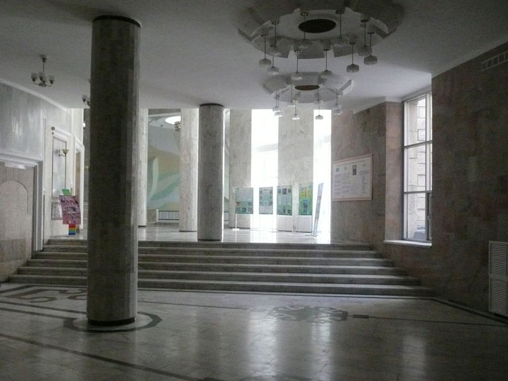 The interior of the former pioneers palace that was beautifully decorated in Soviet 1970s style