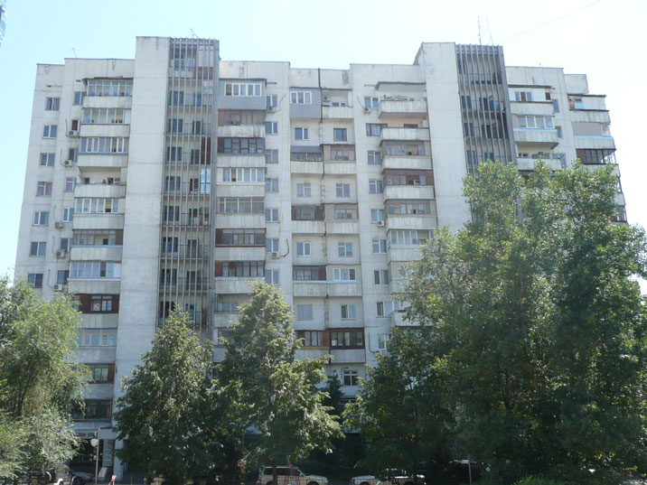 Soviet era apartment buildings in one of the Almaty Micro Districts