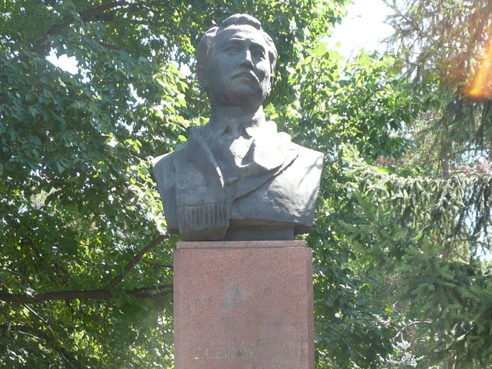 Bust of Saken Seyfullin, a Kazakh literature, poet and writer whom was executed by the Soviets in 1939