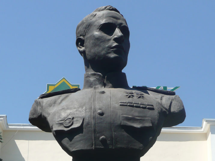 Statue of Sergey Lugansky, a World War II Soviet fighter and recipient of the second Gold Star medal