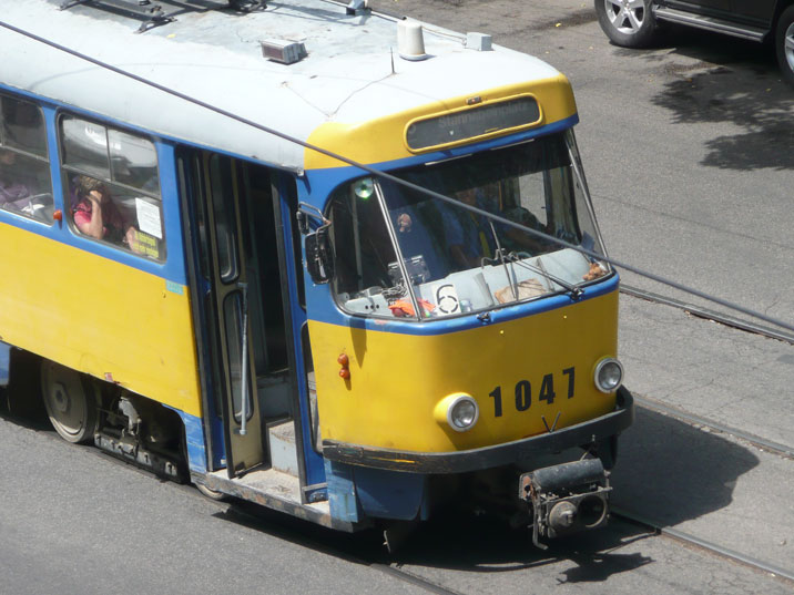 Tatra T4D tram in Almaty with Stannebeinplatz in Leipzig still as the destination sign