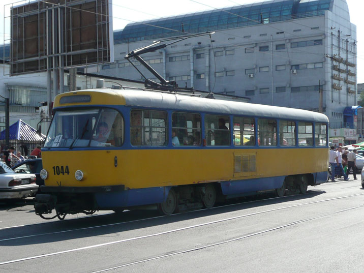 Tatra T4D tram in Almaty that was previously in service in the GDR city Leipzig