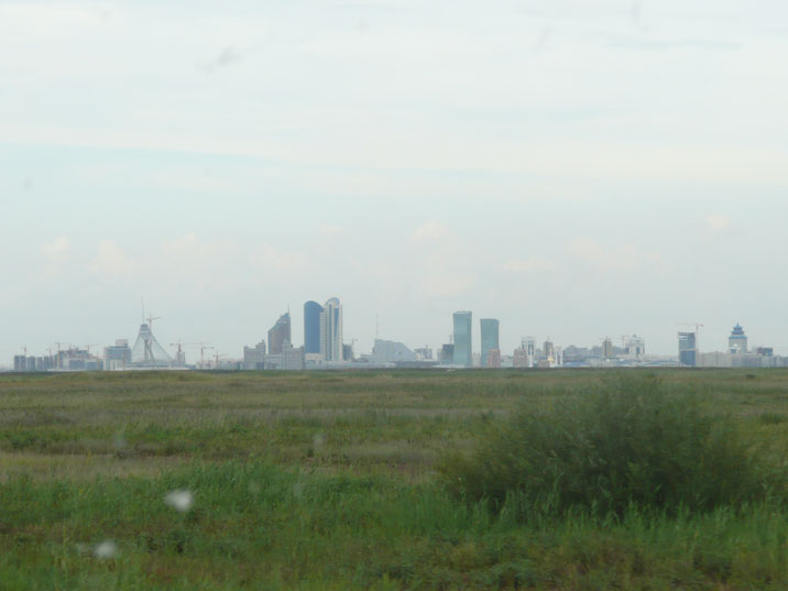 This picture clearly shows the swamps that surround Astana, seen from our car
