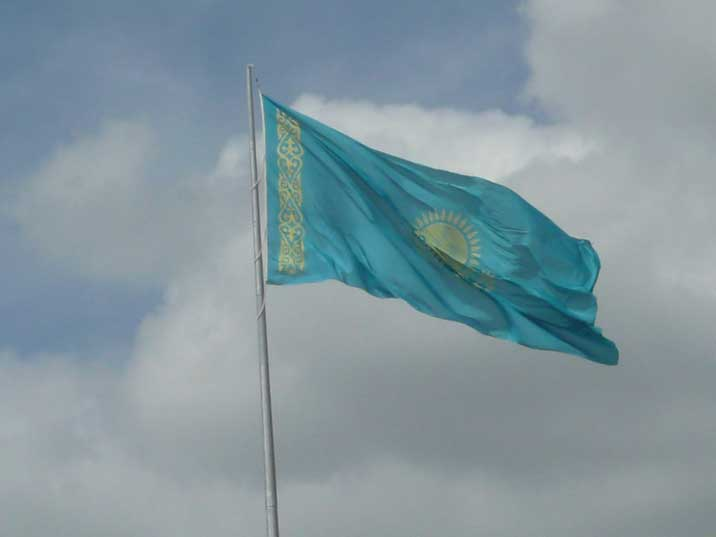 The flag of Kazakhstan that was adopted in 1992, replacing the flag of the Kazakh Soviet Socialist Republic