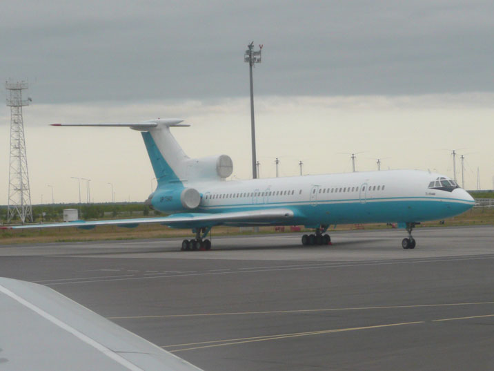 Kaz Air Tupolev Tu-154M with number UP-T5401 seen on Astana International Airport