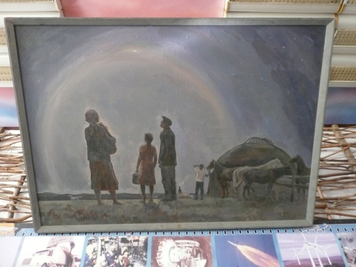 Painting showing Kazakh farmers looking at the first nuclear explosion by the Soviets