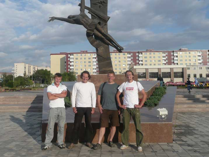Comtourist team with our Kazakh driver Zhenya and guide Vitaly from Avalon HGS