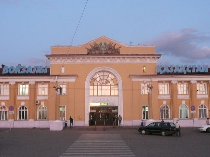 The Karaganda railway stations, trains run to Almaty, Astana and all the way to Yekaterinburg
