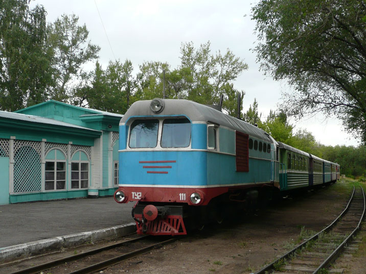 Narrow gauge TU2 diesel locomotive that was used for the children's railway in the Karaganda Central Park
