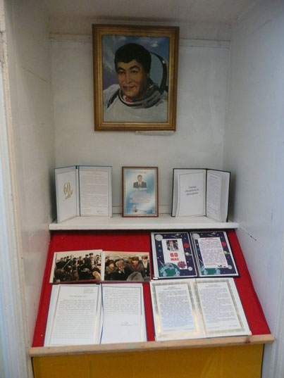 Section of the museum dedicated to local here and Soviet cosmonaut Toktar Aubakirov
