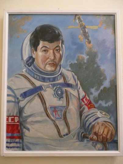 Painting of Toktar Aubakirov who went to space with Soyuz TM-13 in 1991 just before the end of the USSR