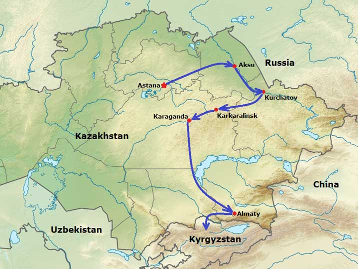 Map of Kazakhstan showing our route from Astana to Kurchatov, Karkaralinsk, Karaganda and finally Almaty