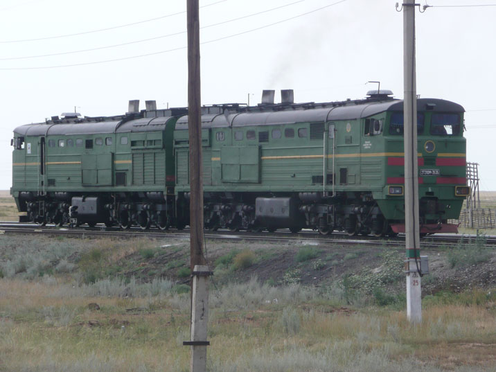 2TE10M diesel locomotive 3535 seen near the first Soviet nuclear test site of Semipalatinsk