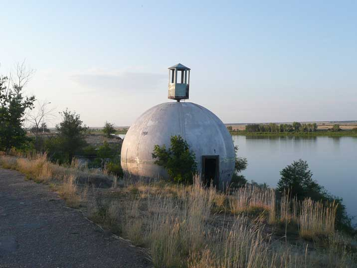 Radar reflecting dome in Kurchatov near the Irtysh River