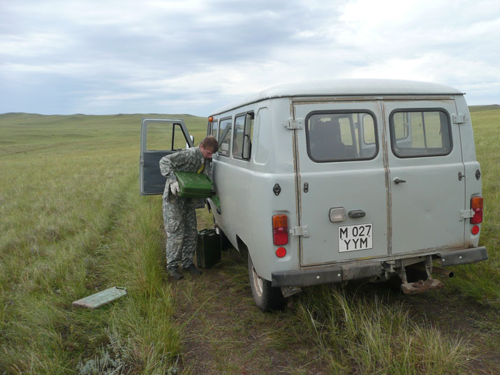 There are no gas stations on the steppes so bring plenty of water, food and gasoline before crossing