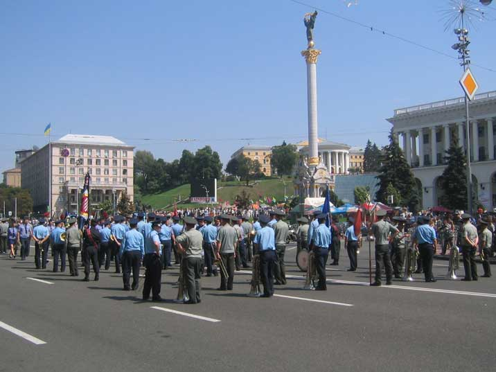 Ukrainian Army band during a parade on Independence Square