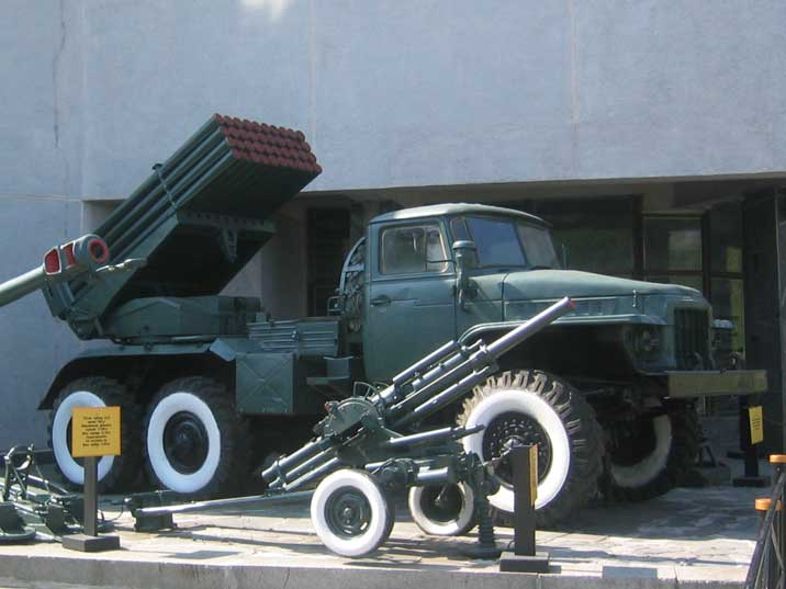 Soviet truck mounted 122 mm multiple rocket launcher, BM-21 Grad