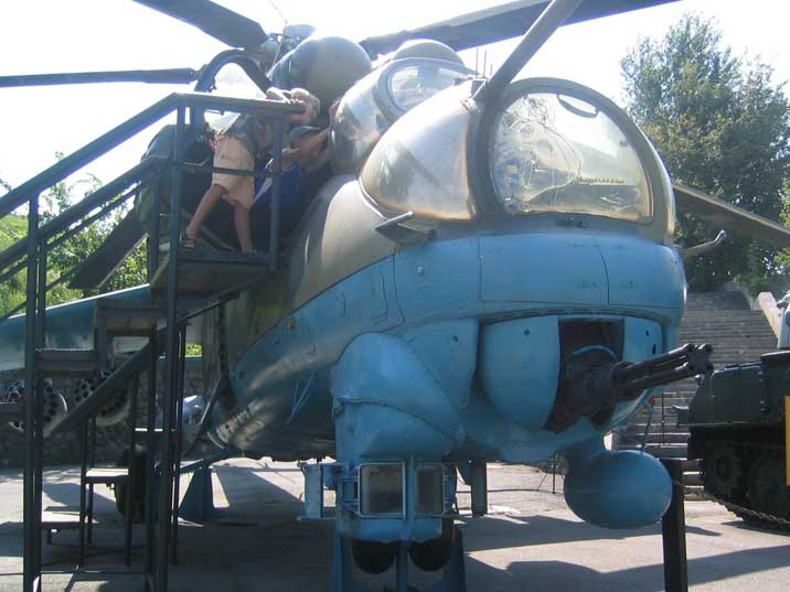 Front of the Mi-24 helicopter with rapid fire heavy machine gun