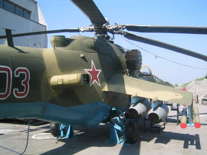 Side of the Mi-24 helicopter with 9K114 Shturm anti-tank missiles