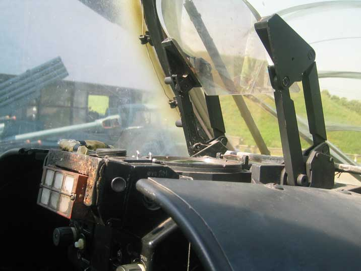 Visor in the cockpit of the Soviet Mil Mi-24 attack Helicopter