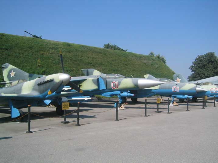 Four famous Soviet fighters, the Yak-9, MiG-23, MiG-21 and MiG-17