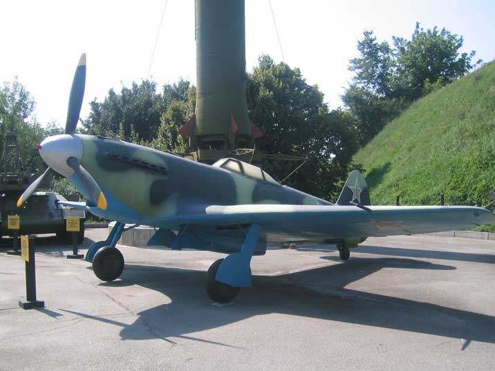 A Soviet World War II fighter aircraft Yakovlev Yak-9 in Kiev