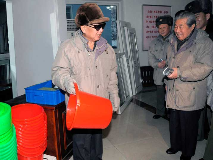 Kim Jong Il in the Kangdong Light Electrical Appliance Factory