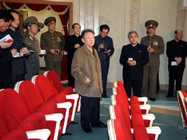 Kim Jong Il inspecting the renovated Pyongyang Grand Theatre