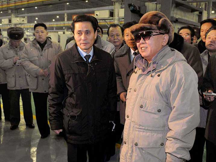Kim Jong Il in the September General Iron Enterprise with his son