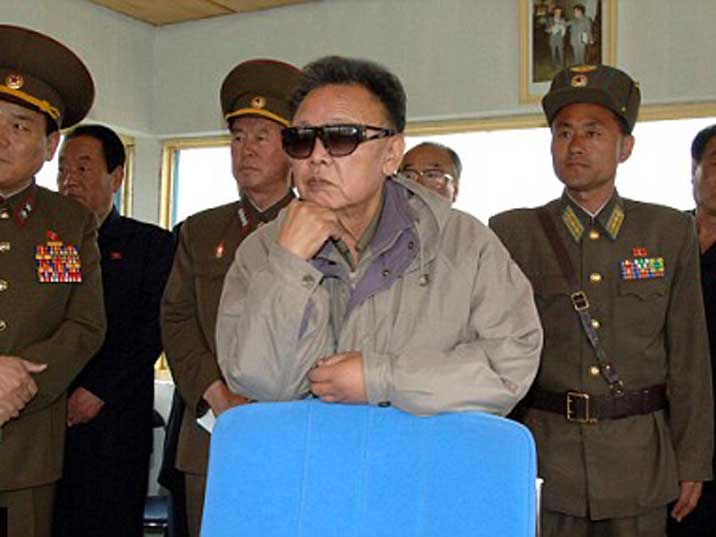 Kim Jong Il inspecting a newly build football stadium in Pyongyang