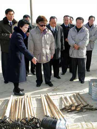 Kim Jong Il looking at pick axes and shovels