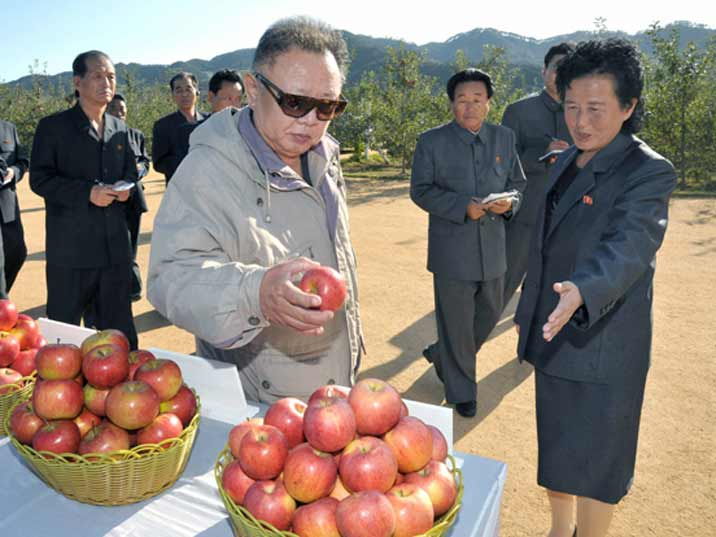 Kim Jong Il providing Field Guidance to the Ryongjon Fruit Farm