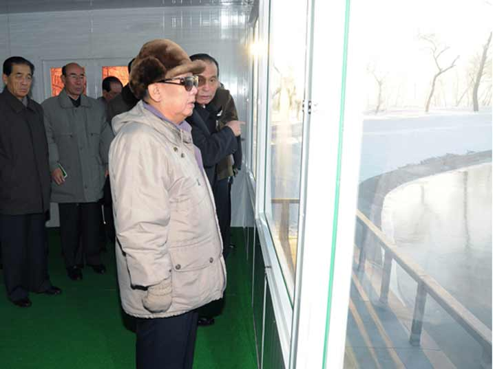 Kim Jong Il looking at a fish pond