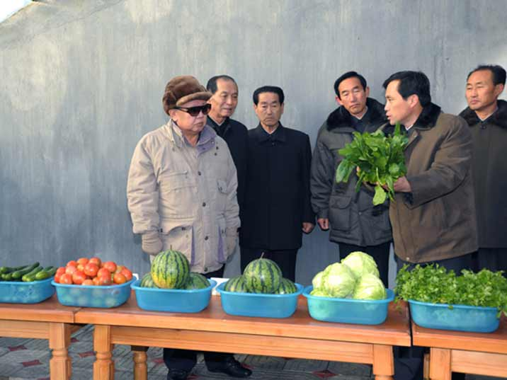 Kim Jong Il looking at various vegetables on a state farm
