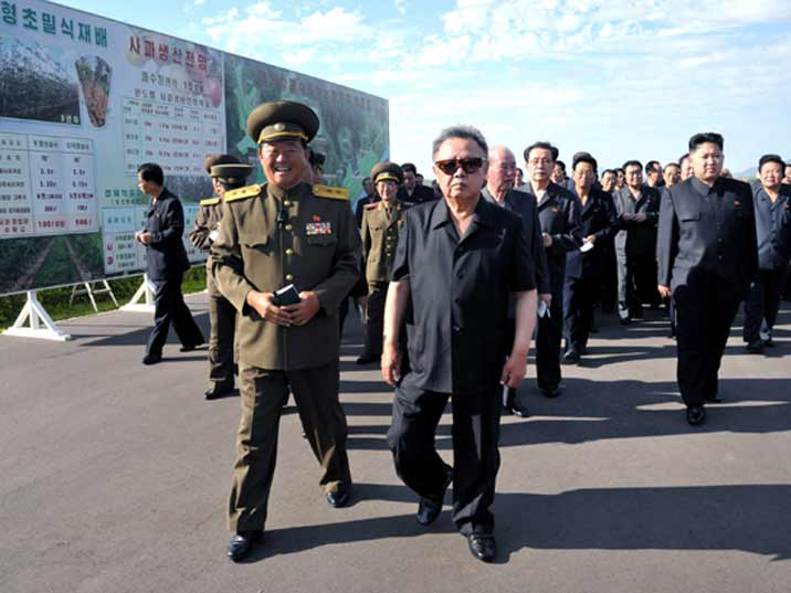 Kim Jong Il looking at Army base with a general and his son Kim Jung Un