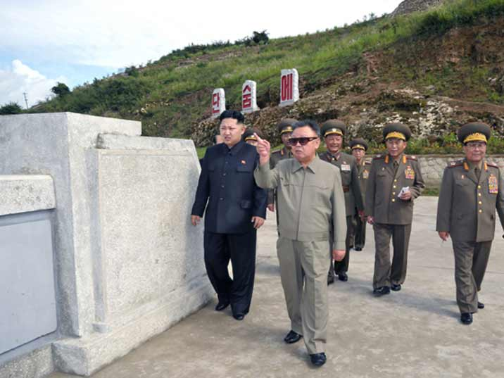 Kim Jong Il pointing at something while being shown around on a KPA army base