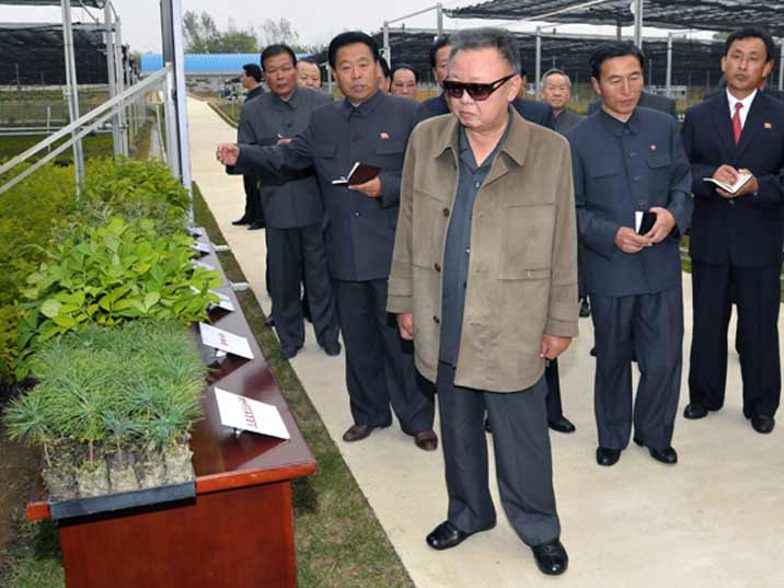 Kim Jong Il looking at cuttings in a farm complex with greenhouses
