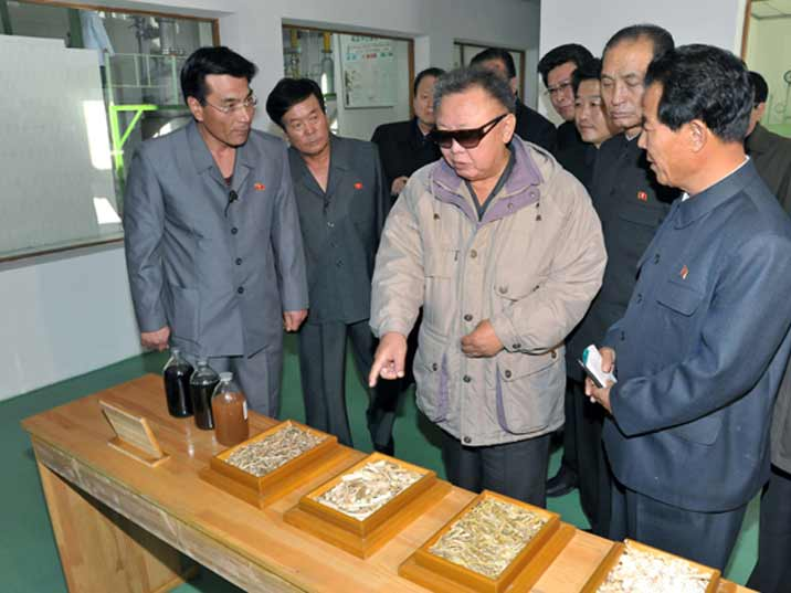 Kim Jong Il looking at grains and other raw products from a North Korean farm