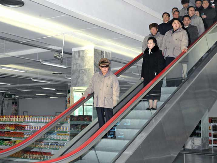 Kim Jong Il looking at a store in Pyongyang during the last field guidance trip of his life
