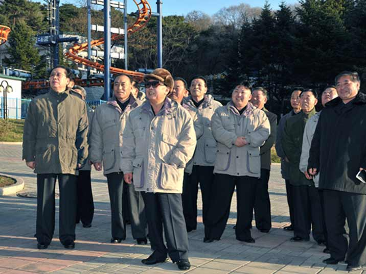 Kim Jong Il looking at a Theme Park for children in Kaesong near the South Korean border