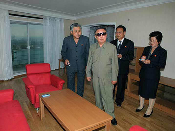 Kim Jong Il looking at a new apartment build according the latest standards in residential Pyongyang